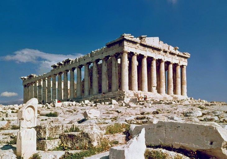 Verdadero . La Acrópolis, Atenas, Grecia