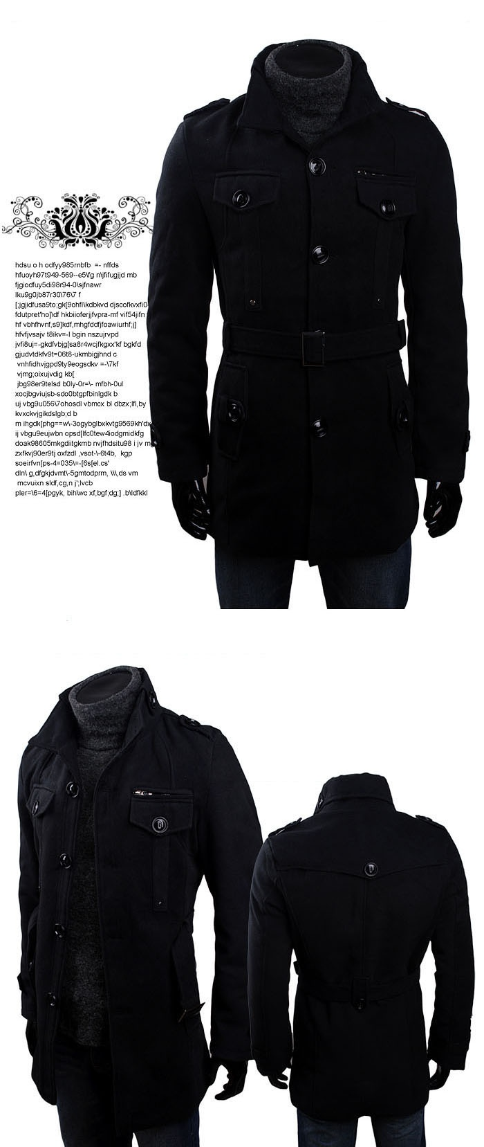 High Quality Korean Fashion Style Double-Breasted and Shoulder Pad Embellished Thicken Coat For Men