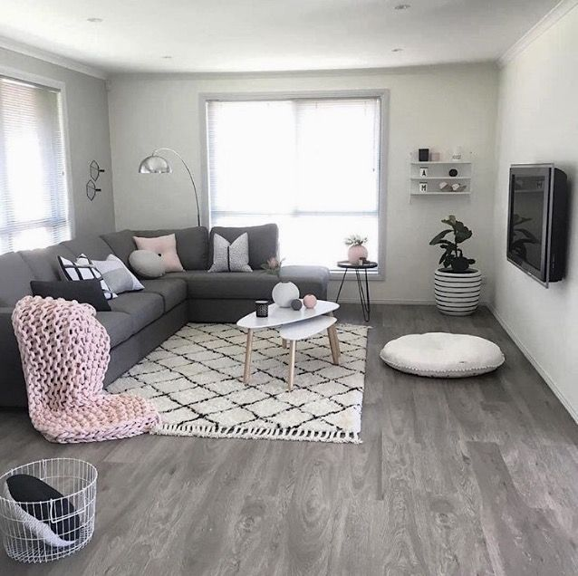 A Grey And Pink Living Room