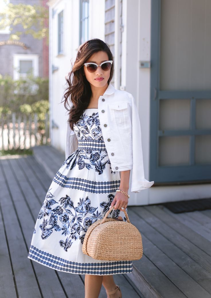 easy summer outfit ideas // print midi dress + straw basket bag + white denim jacket // classic New England style outfit