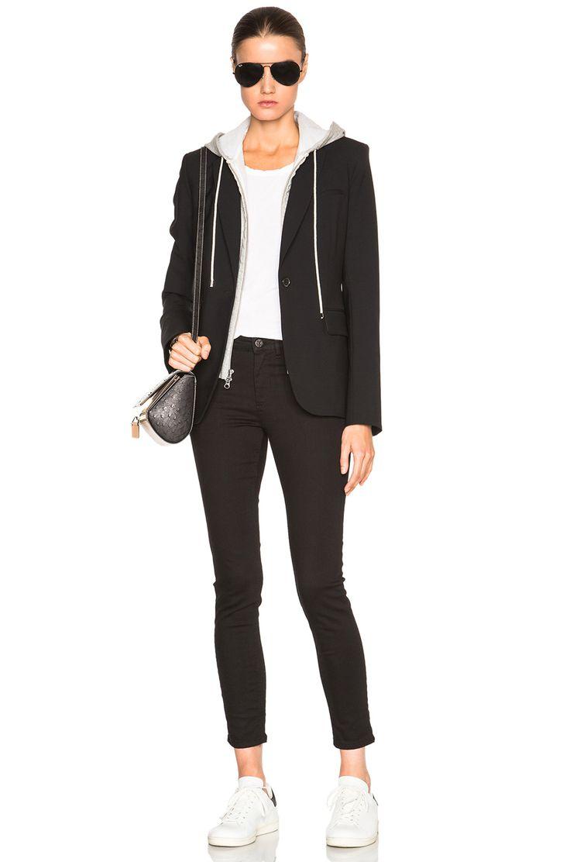 Image 7 of Veronica Beard Classic Blazer with Hoodie Dickey in Black & Grey