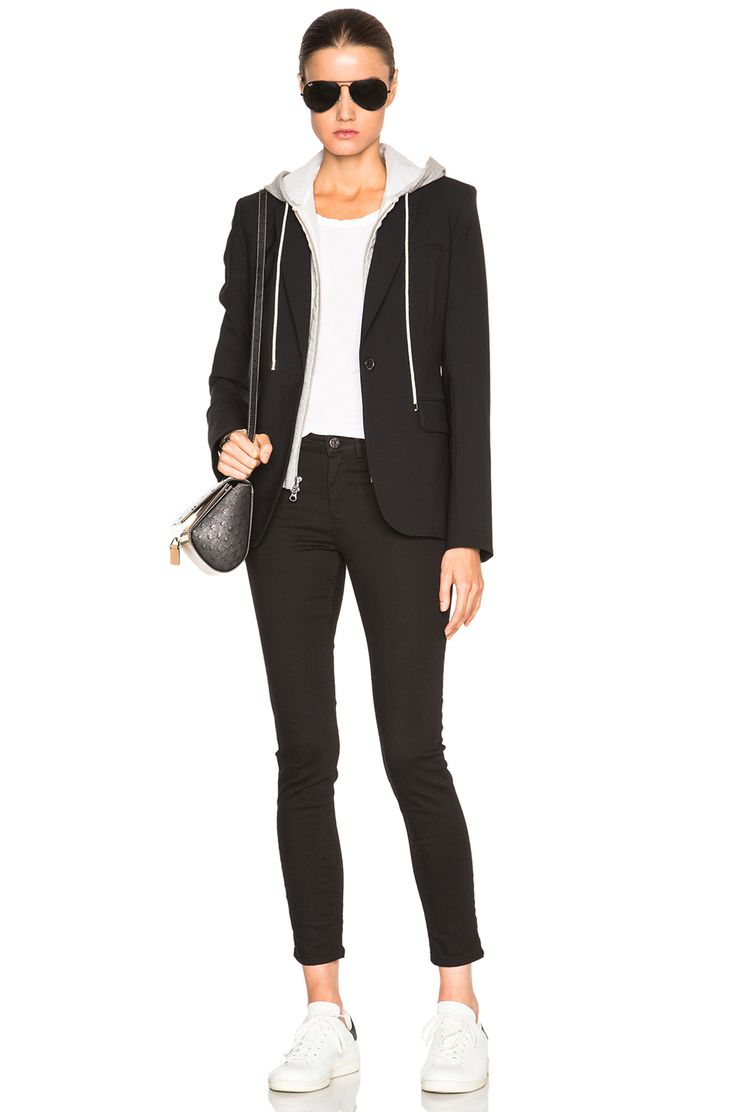 Image 7 of Veronica Beard Classic Blazer with Hoodie Dickey in Black & Grey