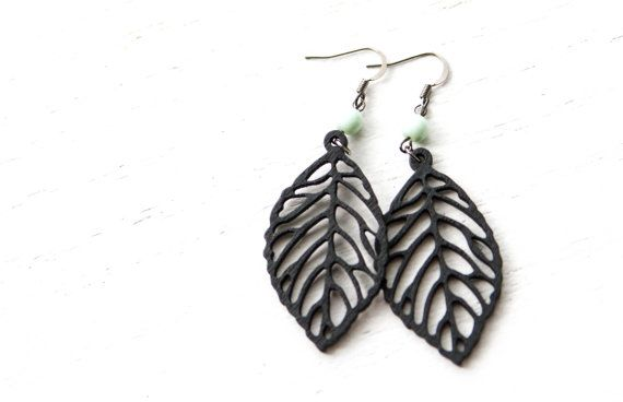 Black Wooden Leaf Dangles with Mint Bead