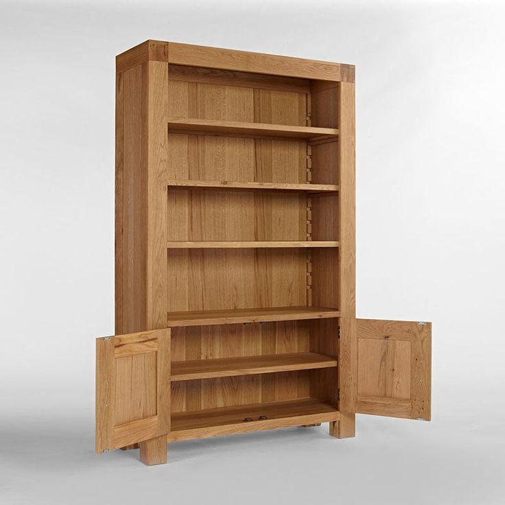 Santana Blonde Solid Oak Bookcase With Cupboard