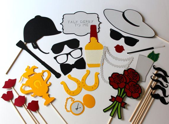 2014 Kentucky Derby Photo Booth Props - Set of 25 includes Roses, Trophy, Jockey Hat, Mint Julep, Maker's Mark, and Horseshoe Sunglasses