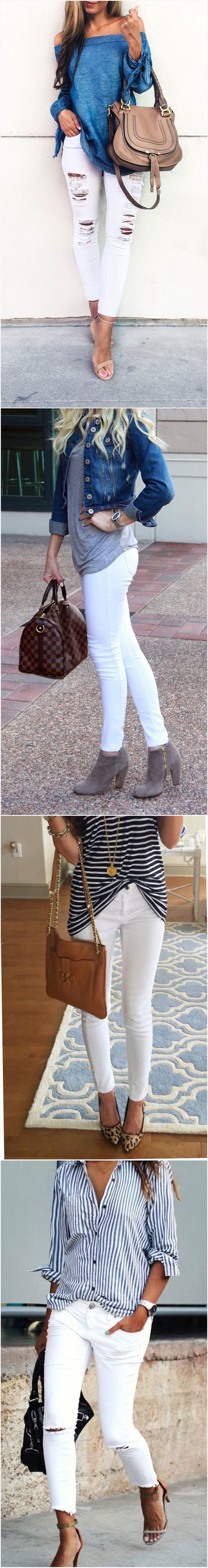 Whit skinny jeans  outfit ideas