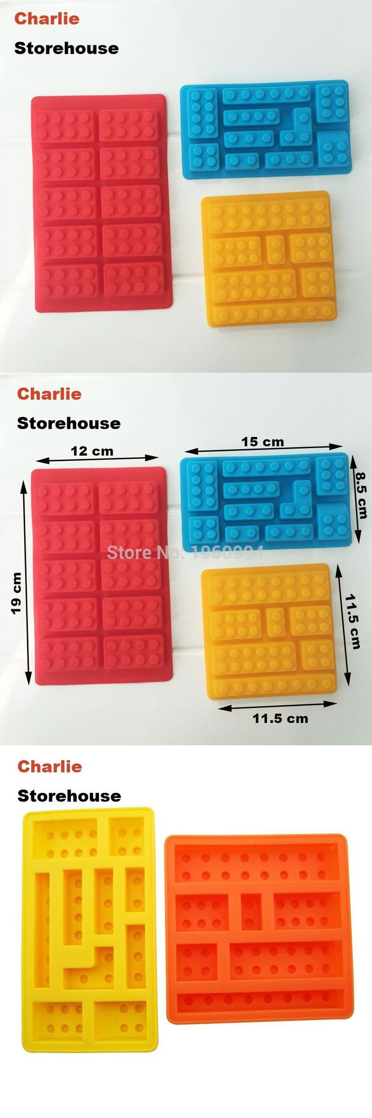 [Visit to Buy] Cake Mold 3 PCS / Set 3D Lego Silicone Fondant Cake Mold Ice Cube Mold Chocolate Jelly Soap Mould Fondant Decorations Tool #Advertisement