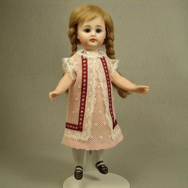 "Antique Point D'Esprit Doll Dress for 6.5""-7"" Mignonette All Bisque No.249 made by Carol H. Straus, 2015. #silkandtrim carolstraus.com SOLD"