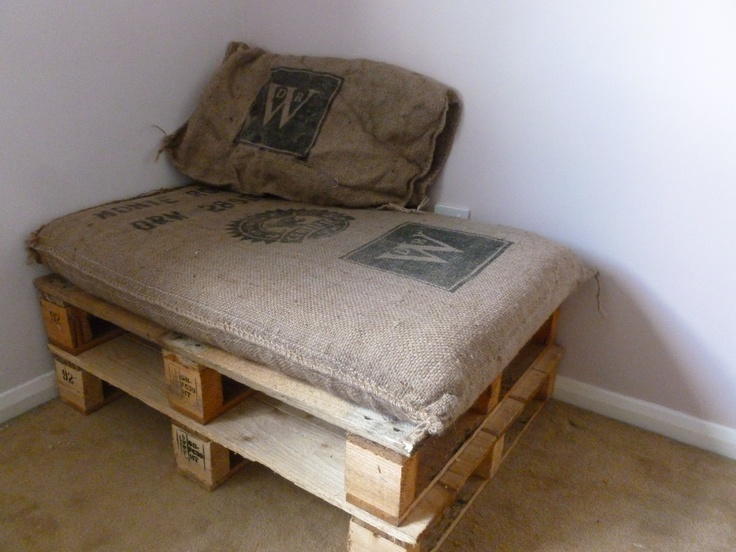 I did it! Two pallets and a re-used coffee sack stuffed with parts of an old cot mattress wrapped in a charity-shop duvet. Pretty pleased with this :-) I even have another sack left to make cushions, stuffed with spare bed pillows.
