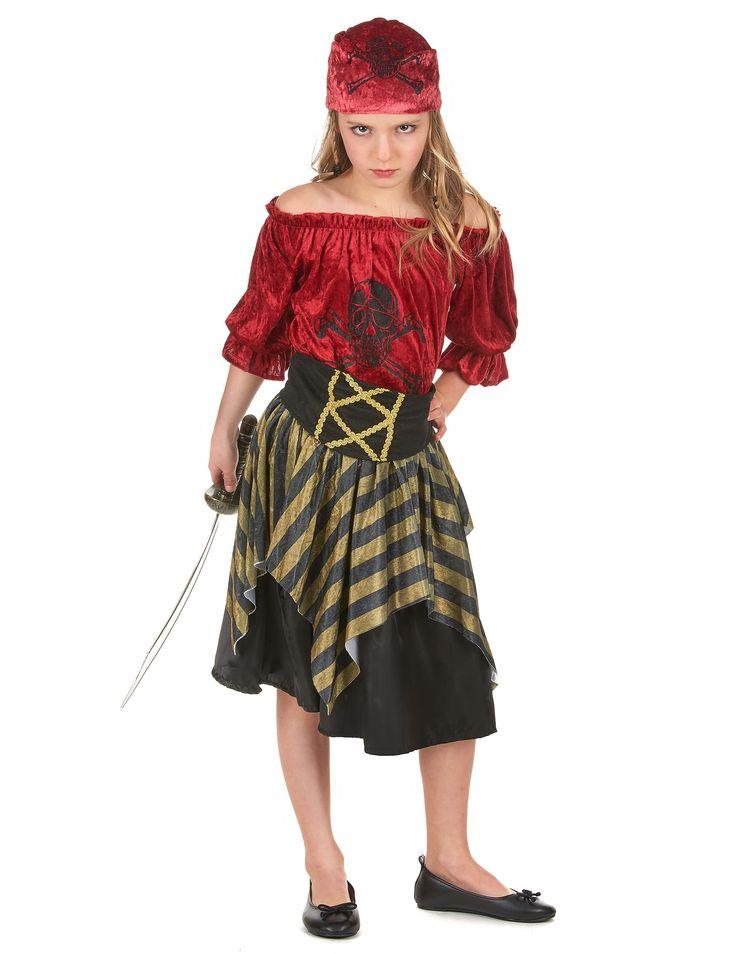 Déguisement pirate fille : Ce déguisement de pirate fille se compose d'une jupe, d'un haut et d'un bandana et d'une ceinture. (Sabre et chaussures non inclus).La jupe est ornée d'une sur-jupe...
