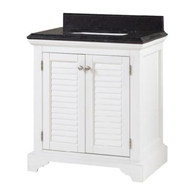 Cedar Cove 30 In Vanity In White With Granite Vanity Top In Blue Butterfly Bathrooms