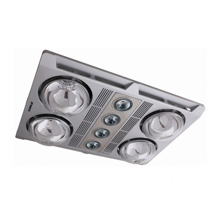 Profile Plus LED 4 Heat 3 in 1 Bathroom Heater with High Extraction Exhaust Fan Silver (MBGU3060) martec