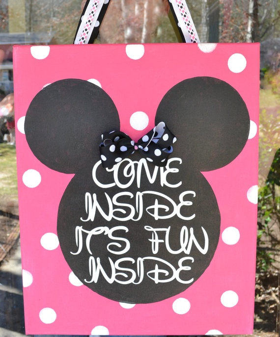 Minnie Mouse Canvas Door Hanger Come Inside by DotDotDotEmbroidery, $21.95