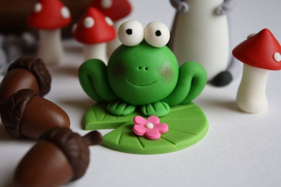 Fondant Woodland Animals Cake Topper Set 11 Pieces by KimSeeEun