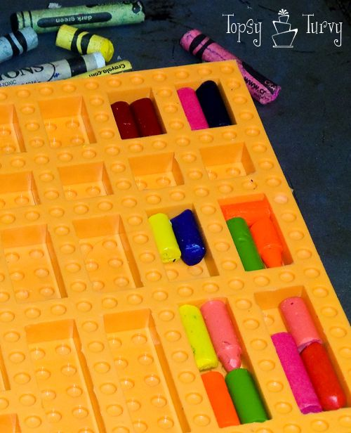 Make you own lego mold with whatever pieces you want, then use molded crayons, candies, gummies, ice, etc. Need a big board and edge pieces. Make two, one for food and one for non-food (crayons, chalk).