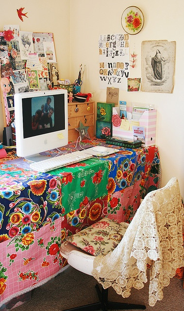Love the crochet throw on chair and bright colors-- Studio of Paula Mills.