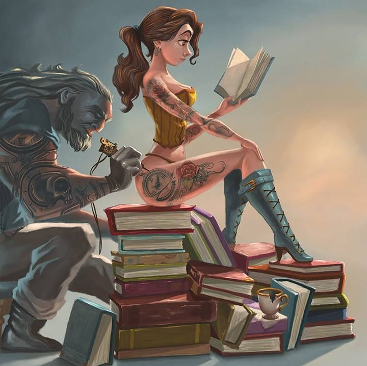 Geektastic Art Series with Superheroes and Tattooed Disney Princesses by Joel Santana — GeekTyrant