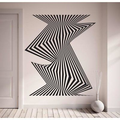 "Style and Apply Optical Stripes Wall Decal Color: Pastel Orange, Size: 44"" H x 39"" W"