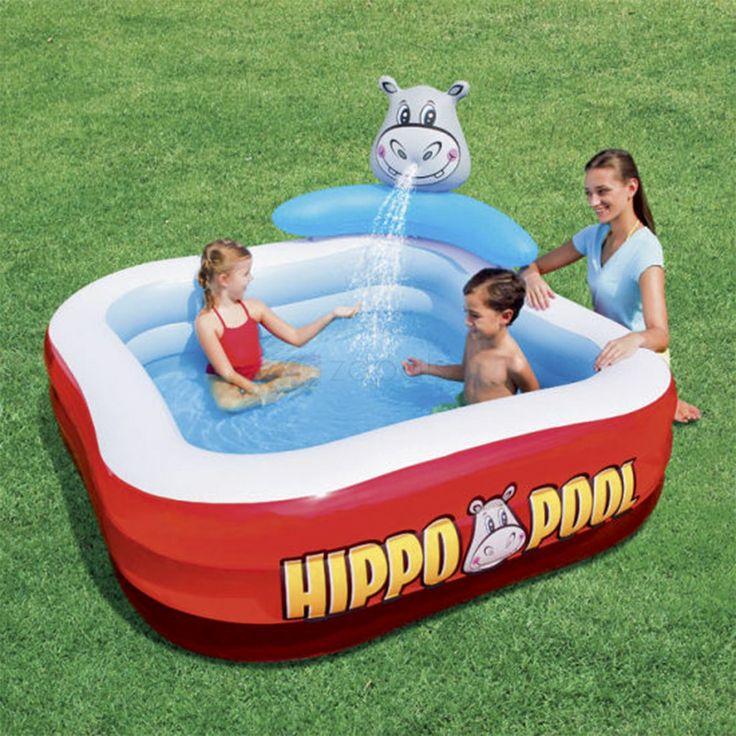Bestway Hippo-shaped Inflatable Baby Pool Spray Bath Tub