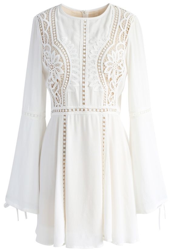 Crochet Diary White Dress with Bell Sleeves - New Arrivals - Retro, Indie and Unique Fashion