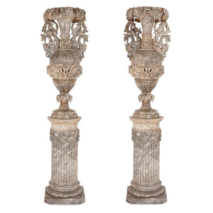 Large Italian alabaster vase on stand