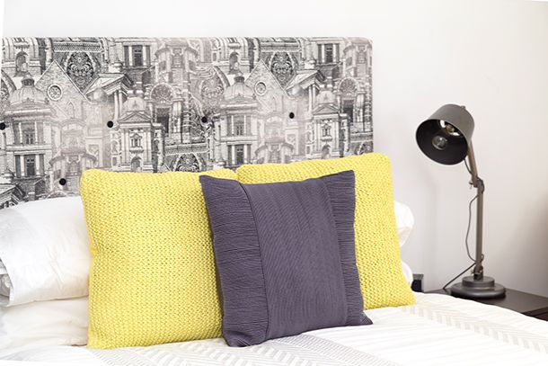 Guest Bedroom styling with a custom upholstered bedhead from Design Art House.