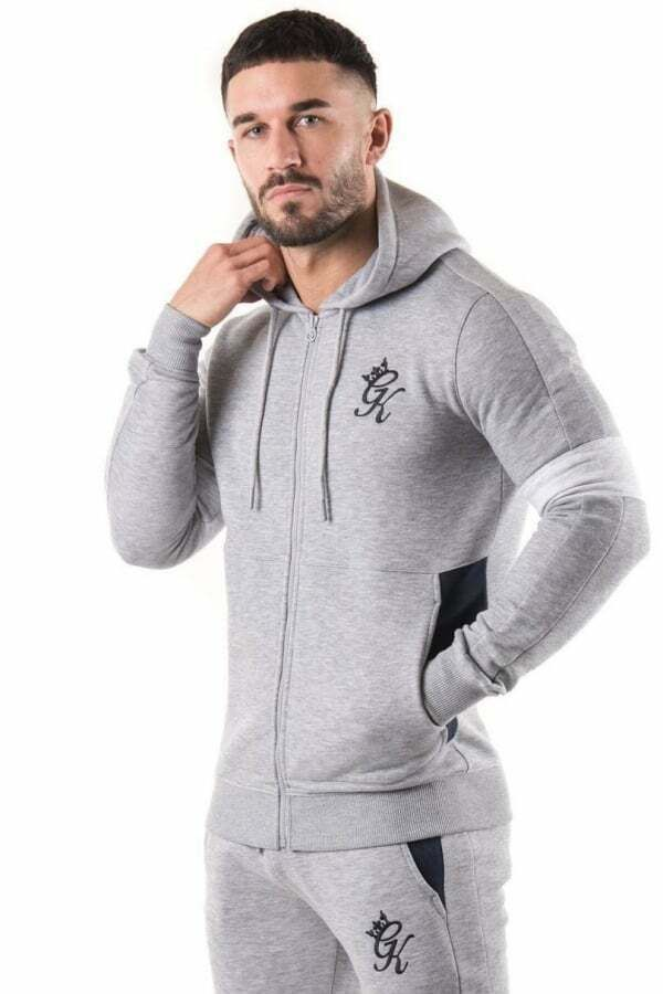 GYM KING GK Mens Hoodie Black Full Zipped Sweatshirt Elasticated Slim Fit Hoody