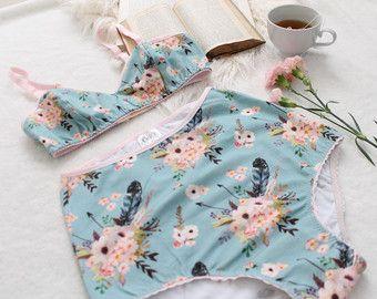 Floral 'Arcos y flechas' de ropa interior sujetador por ohhhlulu