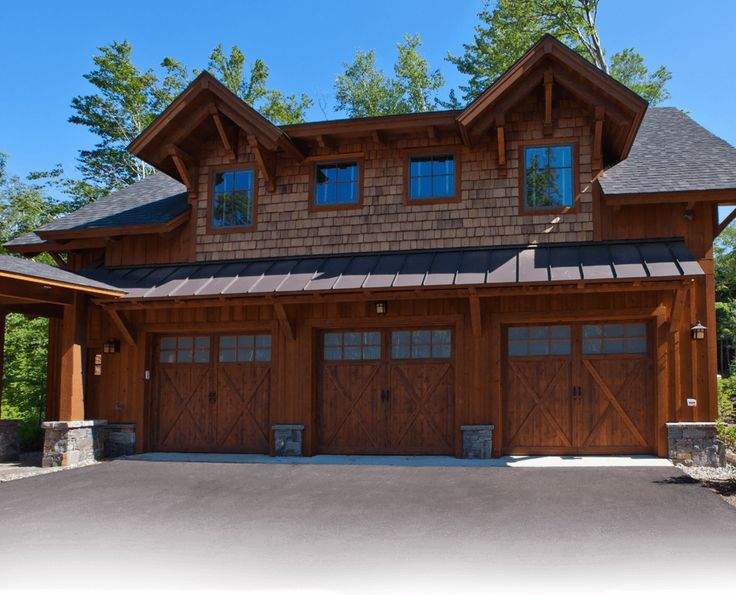Log house plans timber frame house plans three car for Log cabin style garages