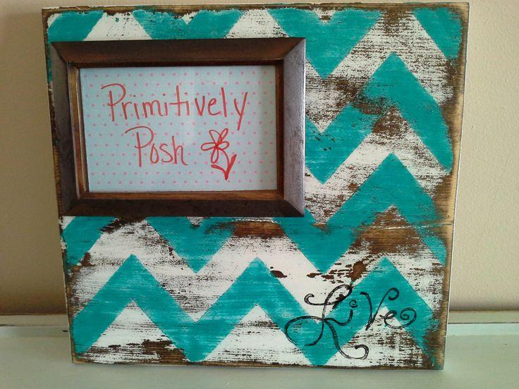chevron picture frame by PrimitivelyPosh on Etsy, $32.00