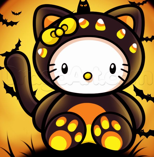 how to draw halloween hello kitty