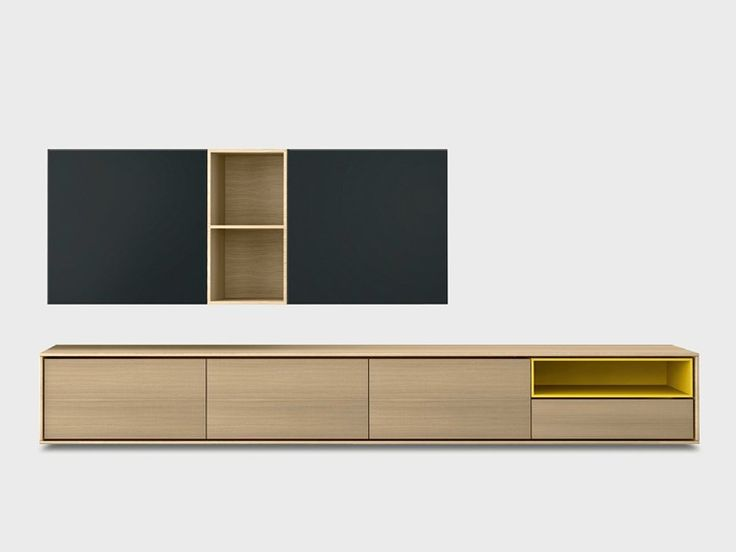 Solid wood storage wall AURA C5-2 Aura Collection by TREKU | design Angel Martí, Enrique Delamo