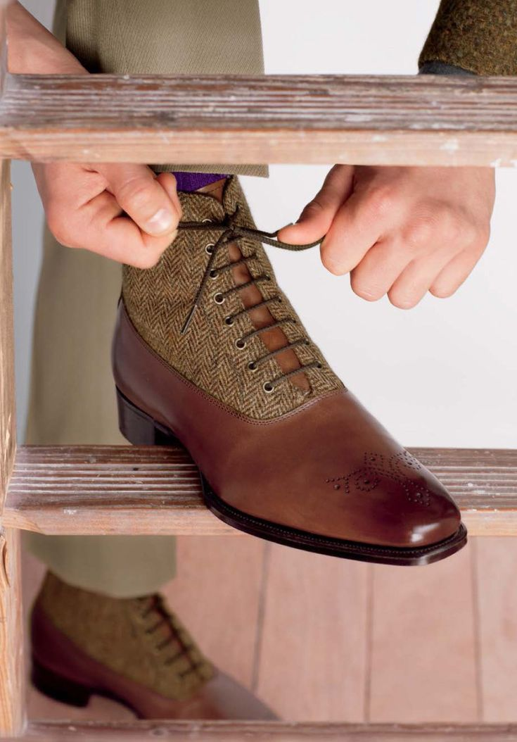 Phineas Cole @ Paul Stuart - Tweed / leather boots ..... Very Stylish