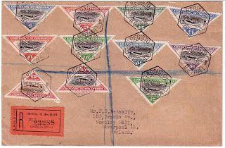 Filatelia de Moçambique: Os selos de correio aéreo da Companhia de Moçambique. Carta registada de Beira (16 OUT 35) para Liverpool (sem marca de chegada) com franquia de 3$75  É curioso ver como uma inteira série de 10 selos não era suficiente para cobrir o custo de uma simples carta registada.