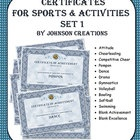 "Give your students the recognition they deserve with these fancy certificates. Included are these certificates:    • Attitude  • Cheerleading  • Competitive Cheer  • Pompon  • Dance  • Drama  • Gymnastics  • Volleyball  • Bowling  • Softball  • Swimming  • Blank Achievement  • Blank Excellence     A blank achievement award and blank excellence award are also included so you can write in your own words. There are TWO certificates on each 8 ½"" x 11"" sheet. $3.00"