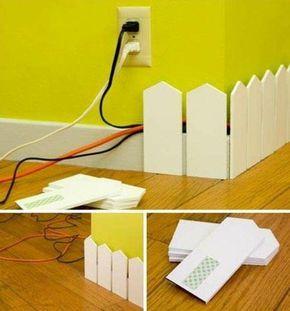 deko ideen kreativ kabel an der wand verstecken gelb