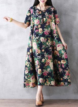 Cotton Blends Floral Half Sleeve Mid-Calf Casual Dresses (1042323) @ floryday.com