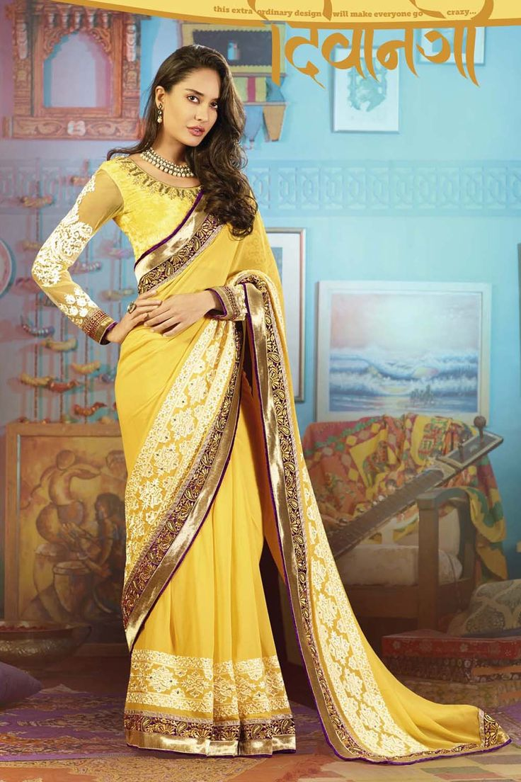 Presenting Yellow Faux Georgette #Saree with Embroidered,Stone Work and Lace Work  Order Now@ http://zohraa.com/yellow-faux-georgette-saree-salswagat7708.html  Rs. 5,349.