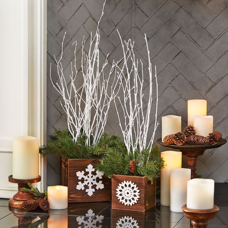 Holiday Branch Planters are easy to make and add a rustic touch to your holiday decor