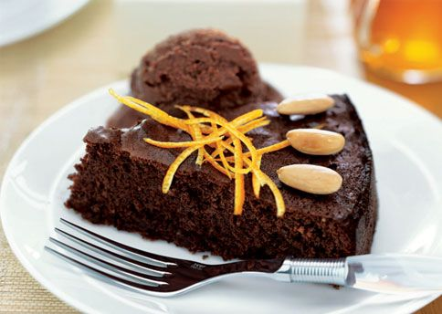 Flourless Chocolate-Orange Almond Cake.  Finally--something without gluten or nuts (ofc, we won't put the almonds on it)