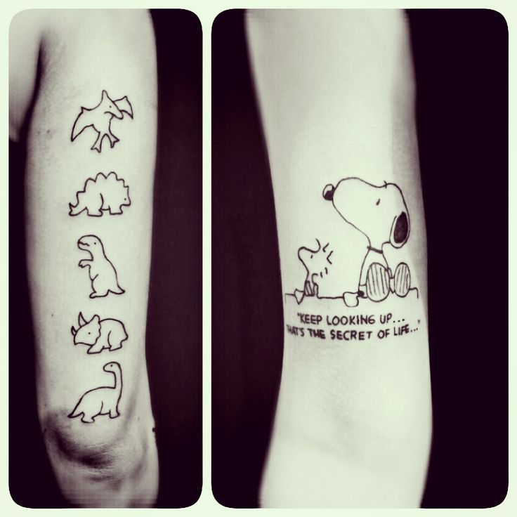 Snoopy tattoo the most famous beagle in the world! Dinosaur tattoo pteranodon stegosaurus trex triceratops brontosaurus. I've been fascinated by them since i was a kid.