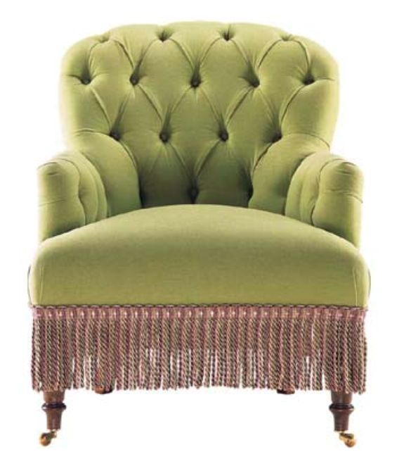 Green Tufted Chair With Fringe Trim Green Pinterest
