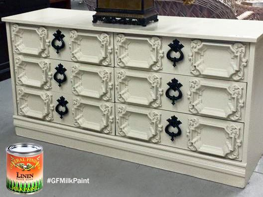 Here's a lovely neutral dresser painted in GF Linen Milk Paint from Shades of Shabby. You can find your favorite GF products at Woodcraft, Rockler Woodworking stores or Wood Essence in Canada. You can also use your zip code to find a retailer near you at http://generalfinishes.com/where-buy#.UvASj1M3mIY.