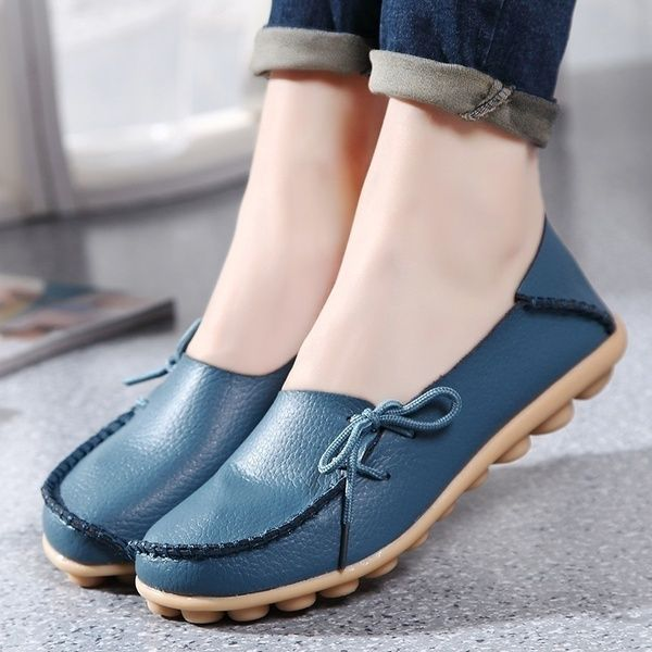 New 2017 Vintage Women Flats Genuine Leather Shoes Woman Candy Color Boat  Shoes Breathable Fashion Flat Shoe… | Leather shoes woman, Women shoes,  Casual shoes women
