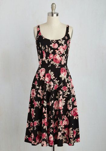 Blossoms Up Dress - Multi, Black, Floral, Print, Casual, A-line, Sleeveless, Fall, Knit, Better, Long