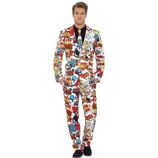 Heren kostuum Comic Strip. Dit 3-delig heren kostuum met colbert, broek en stropdas heeft een all-over print van comic strip plaatjes. Carnavalskleding 2015 #carnaval