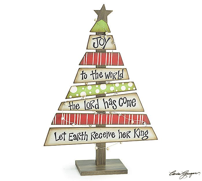 "Wood plank Christmas tree with ""Joy To The World"" message, accented by distressed wood star and bells on wire around the tree. 18 1/2"" H x 12 3/4"" W x 5"" D. *Christmas Tree Decor alternative: Christma"