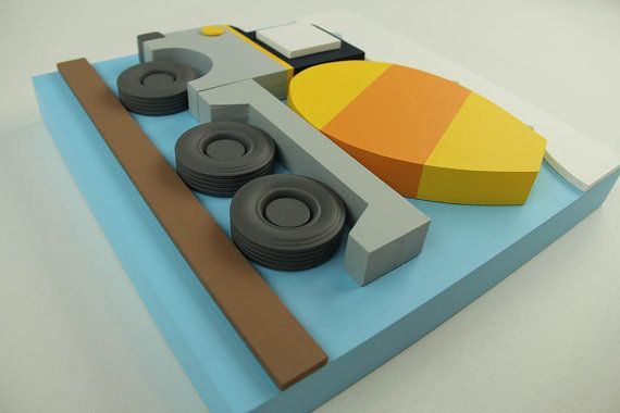 Construcción 3D cemento carro pared arte decoración, decoración de construcción…