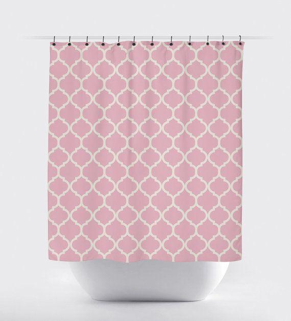 pink quatrefoil shower curtain modern shower by PrintArtShoppe