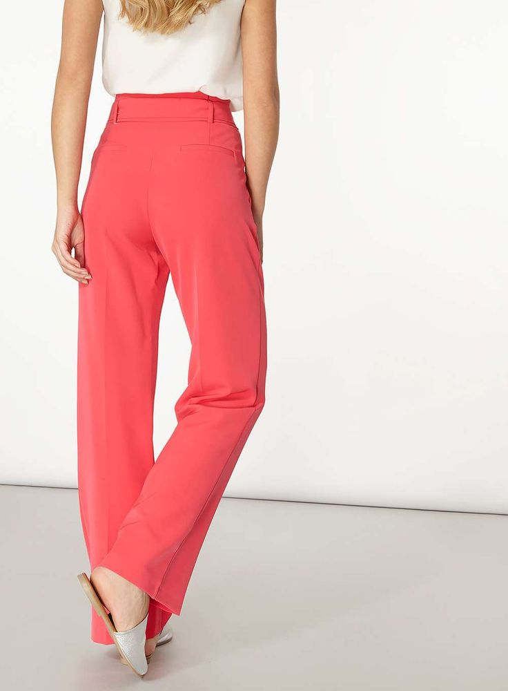 Womens Pink Belt Paperbag Wide Leg Trousers- Pink